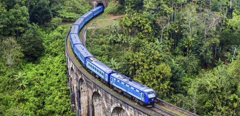 Train on Mountain, Sri Lanka Nine Arch Bridge